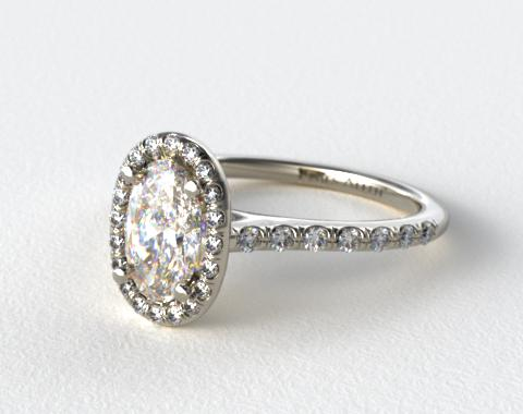 18K White Gold Pave Halo and Shank Diamond Engagement Ring (Oval Center)