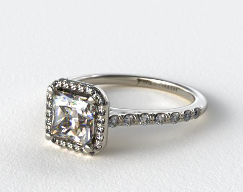 Platinum Pave Halo and Shank Diamond Engagement Ring (Princess Center)