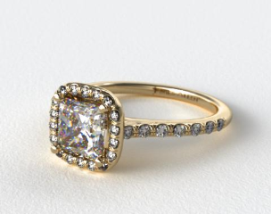 18K Yellow Gold Pave Halo and Shank Diamond Engagement Ring (Cushion Center)