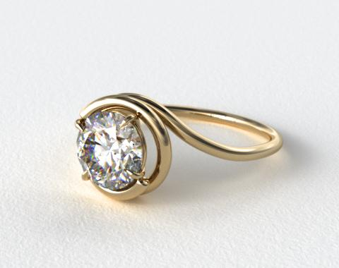 18K Yellow Gold Solitaire Swirl AE133 by Danhov Designer Engagement Ring