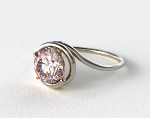 18k White Gold Solitaire Swirl AE133 with Rose Gold Basket  by Danhov Designer Engagement Ring
