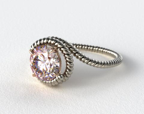18k White Gold Solitaire Wrapped AE135 by Danhov Designer Engagement Ring (Rose Gold Basket)