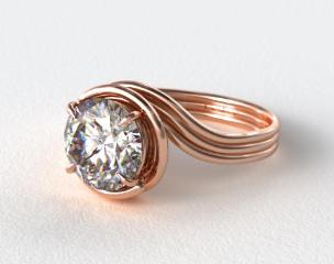 14K Rose Gold Three Band Solitaire Swirl AE141 by Danhov Designer Engagement Ring