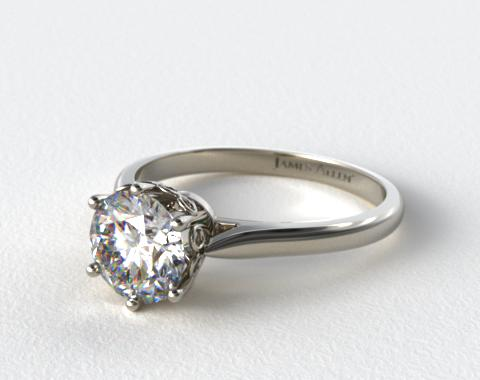 Platinum Spring Blossom Six Prong Solitaire Engagement Ring