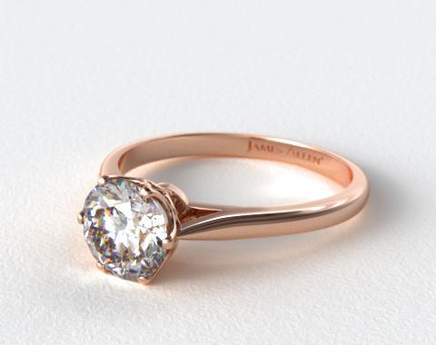 14K Rose Gold Six Prong Royal Crown Engagement Ring