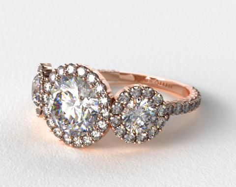 14K Rose Gold Three Stone Pave Halo XE106 by Danhov Designer Engagement Ring