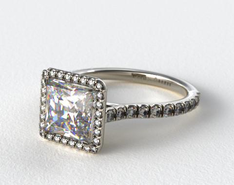 14K White Gold Pave Set Engagement Ring (Princess Center)