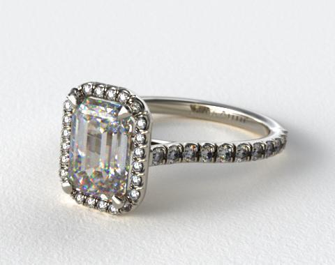 14K White Gold Pave Set Engagement Ring (Emerald Center)