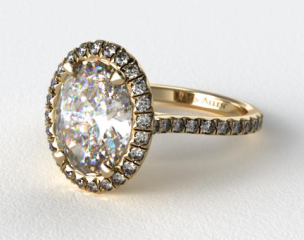 18k Yellow Gold Pave Set Engagement Ring (Oval Center)