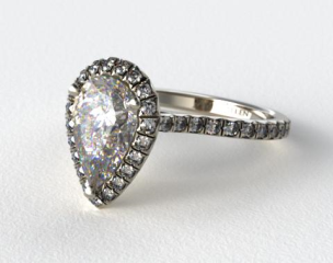Platinum Pave Set Engagement Ring (Pear Center)