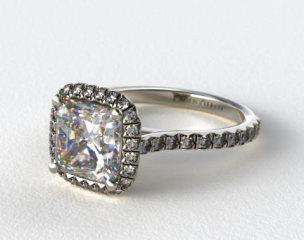 Platinum Pave Set Engagement Ring (Cushion Center)