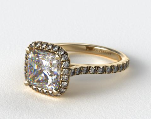 18k Yellow Gold Pave Set Engagement Ring (Cushion Center)