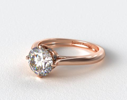 14K Rose Gold Pave Set Crown Solitaire Engagement Ring