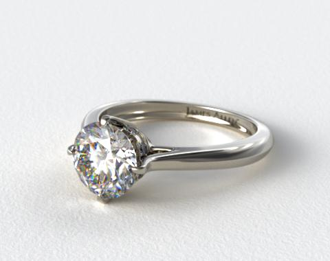 14k White Gold Pave Set Crown Solitaire Engagement Ring