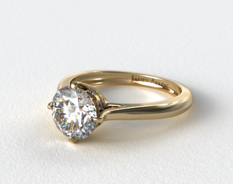 14k Yellow Gold Pave Set Crown Solitaire Engagement Ring