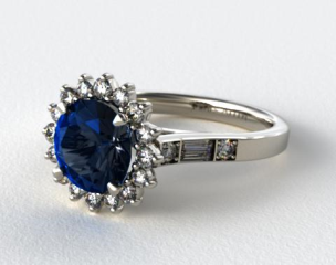 Platinum Blue Sapphire Sunburst and Diamond Baguette Engagement Ring