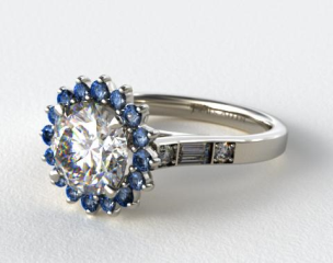 18K White Gold Blue Sapphire Sunburst and Diamond Baguette Engagement Ring