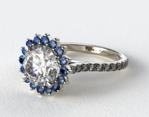 Platinum Blue Sapphire Pave Sunburst Engagement Ring
