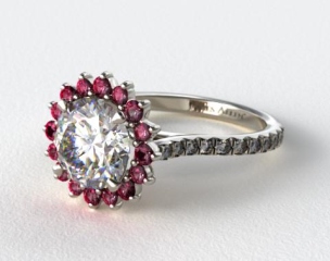 14K White Gold Ruby Pave Sunburst Engagement Ring
