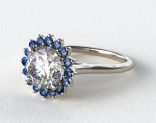Platinum Blue Sapphire Pave Sunburst Engagement Ring
