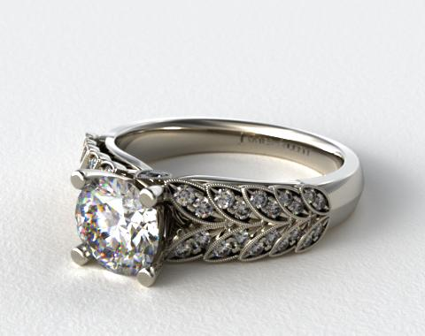 18K White Gold Pave Leaves Engagement Ring