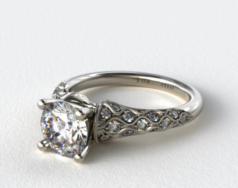 Platinum Wide Shoulder Pave Engagement Ring