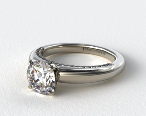 14k White Gold Pave Rim Engagement Ring