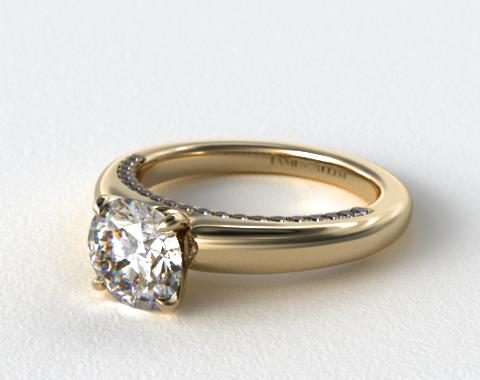 14K Yellow Gold Pave Rim Engagement Ring