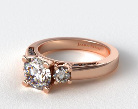 14K Rose Gold Round Brilliant and Pave Accents Engagement Ring