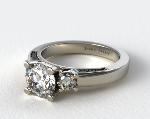 Platinum Round Brilliant and Pave Accents Engagement Ring