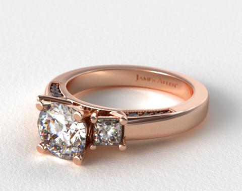 14K Rose Gold Princess and Pave Accents Engagement Ring