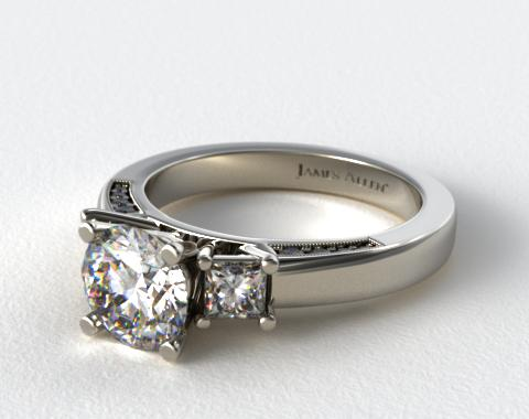 18k White Gold Princess and Pave Accents Engagement Ring