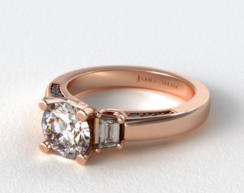 14K Rose Gold Trapezoid and Pave Accents Engagement Ring