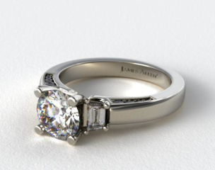 14k White Gold Baguette and Pave Accents Engagement Ring