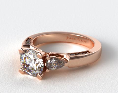 14K Rose Gold Pear and Pave Accents Engagement Ring