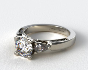 18k White Gold Pear and Pave Accents Engagement Ring