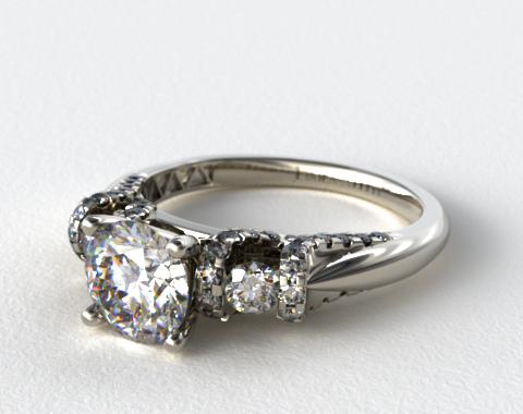 18k White Gold Round and Pave Ribbon Engagement Ring