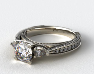 Platinum Pear and Pave Cathedral Engagement Ring