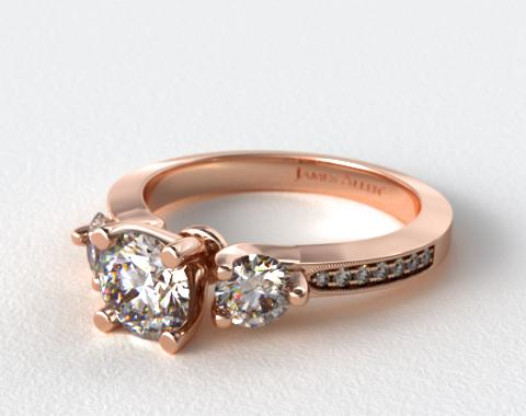 14K Rose Gold Milgrain Round and Pave Tapered Engagement Ring