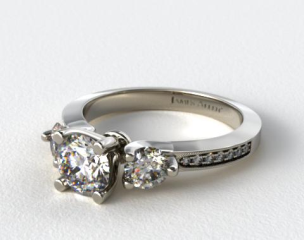 Platinum Milgrain Round and Pave Tapered Engagement Ring
