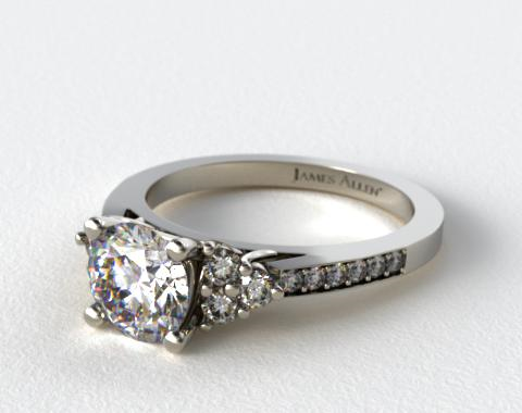 18k White Gold  Pave Trio Engagement Ring