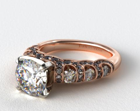 14K Rose Gold Six Stone Pave Encased Swag Engagement Ring