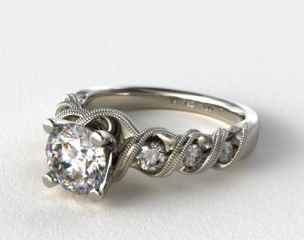 Platinum Milgrain Ribbon Engagement Ring