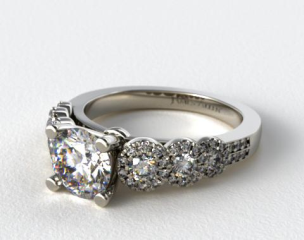Platinum Pave Flower Diamond Engagement Ring
