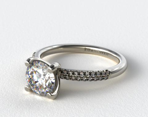 14K White Gold Rounded Pave Engagement Ring