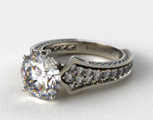 Platinum Scallop Edge Pave Engagement Ring