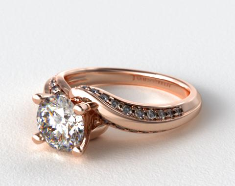 14K Rose Gold Pave Twist Engagement Ring