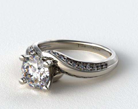 14k White Gold Pave Twist Engagement Ring