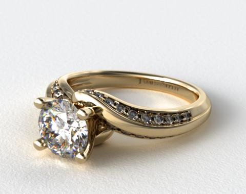 14K Yellow Gold Pave Twist Engagement Ring