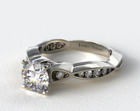 14K White Gold Pinch Pleat Pave Engagement Ring